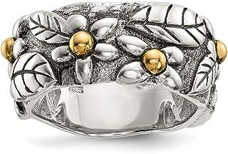 Plata de Ley con 14ct envejecido anillo de hojas y flores banda–anillo tamaño opciones gama: L a P