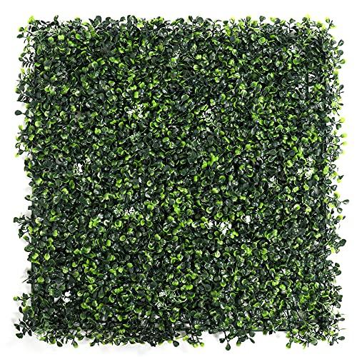 UNICESPED Jardín Vertical Artificial Exterior e Interior Boxwood (Light Green with Flower) Decoración Pared Plantas y Flores 100x100 centimetros