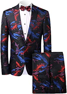MAGE MALE Men's 2-Piece Fish/Leopard Floral Printed One Button Notch Lapel Wedding Blazer Pants Sets
