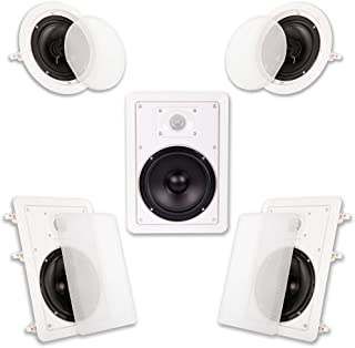 "Acoustic Audio HT-65 in Wall in Ceiling 1250 Watt 6.5"" Home Theater 5 Speaker System"