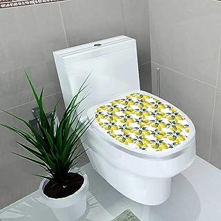 Auraise-home Bathroom Toilet seat Sticker Decal Watercolor Blooming Lemon Lemon Fruit with Flowers Seamless Paper Decal Sticker Vinyl W13 x L16