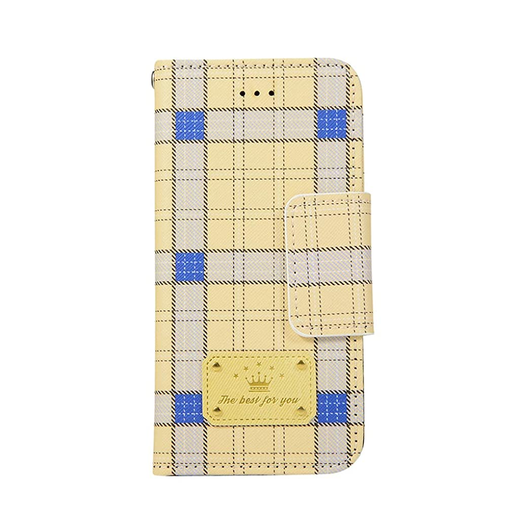 ベッツィトロットウッド提案ケーブルカーiPhone6 ケース 手帳型 iPhone6S ケース アイフォン6ケース アイフォン6Sケース アイフォン6カバー 可愛い ブリティッシュチェック チェック柄 英国風チェック イギリス風 格子柄 タータンチェック 二つ折り おしゃれ ダイアリー【VIVINN】 人気 カバー カード収納 マグネット式 財布型 女性 レディース 耐汚れ 耐衝撃 全面保護(iPhone6/6S,イエロー)