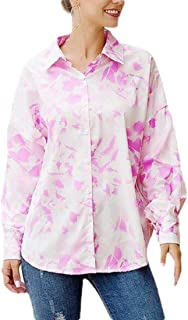 Women's Casual Floral Print Tunic Long Sleeves Button Down Shirt Top