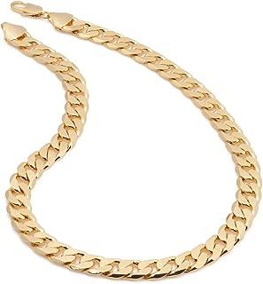 """Polímero protegido 30/"""" L 12mm 18K Amarillo Oro Plateado Cadena Collar Regalo de Navidad"""
