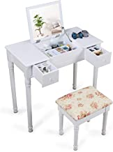 Organizedlife White Vanity Dressing Table with Stool Mirror Jewelry Cabinet for Dressing and Makeup