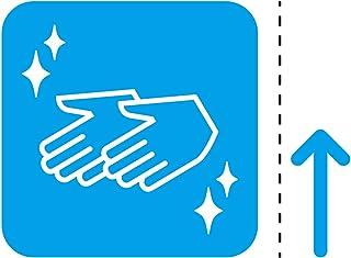 消毒 手洗い 衛生 案内 シール ステッカー カッティングステッカー (矢印付き) 光沢タイプ・防水 耐水・屋外耐候3~4年【クリックポストにて発送】 (青, 50)