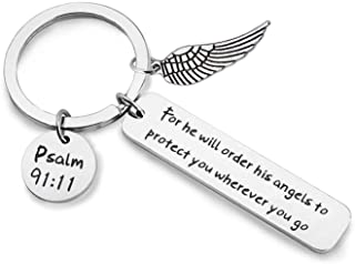 CHOROY Bible Verse Keychain for He Will Order His Angels to Protect You Wherever You Go Religious Jewelry Christian Gift