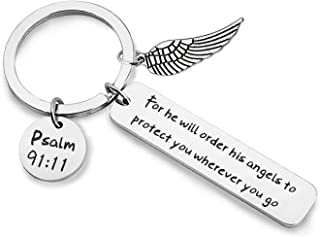 Bible Verse Keychain for He Will Order His Angels to Protect You Wherever You Go Religious Jewelry Christian Gift