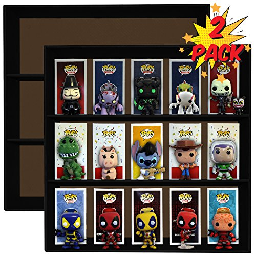 Display Geek 2 Pack, Exclusive Stackable Toy Shelves for 4 in. Vinyl Collectible Figures, Black Corrugated Cardboard image