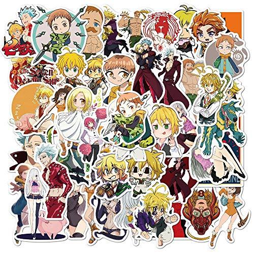BLOUR 50 unids/Set Anime los Siete pecados Capitales Pegatinas de Vinilo para niños DIY Guitarra portátil papelería monopatín Juguetes clásicos Pegatina