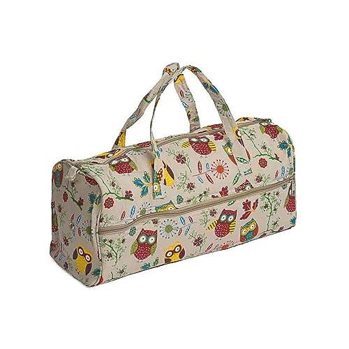 d55122c24c97 Hobby Gift MR4698 29 Owl Print on Natural Craft Knitting Storage Bag  15x42x17½cm
