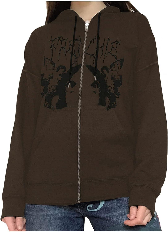 Aniwood Women Zip Up Hoodie Y2k Aesthetic Sweatshirts Top 90s Long Sleeve Palm Skull Pullovers Sweatshirt Streetwear
