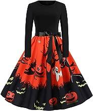 Clearance Halloween Dress, Forthery Women Pumpkin Skull Skater Swing Dress Vintage Elegant A-line Skull Dress