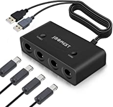 Gamecube Controller Adapter Switch with Turbo and Home Buttons for Wii U, Nintendo Switch, PC USB with 4 Port,Plug and Play,No Drivers Needed