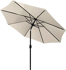HENG FENG 9FT Patio Umbrella Outdoor Market Table Umbrella with Push Button Tilt and Crank, 8 Sturdy Ribs for Garden, Lawn, Backyard, Pool, Beige
