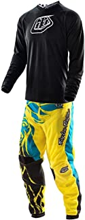 Troy Lee Designs TLD Off Road MX Gear Set Black GP Midnight Jersey and Yellow Blue GP Air Lion Pants Combo (Medium Jersey / 30 Pants)