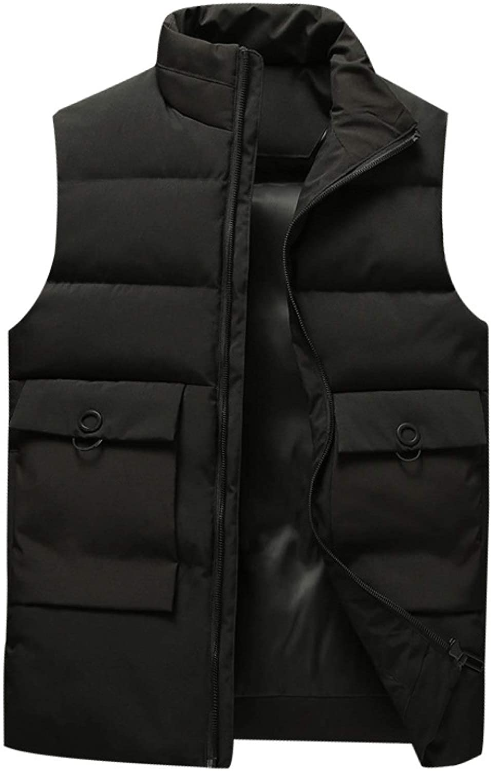 Men's Quilted Down Vest Polyester With Zipper Sleeveless Jackets Gilet Padded Puffer Pockets Waistcoat Jacket for Work Party
