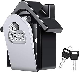 Snople 大容量キー暗証番号ボックス 壁掛け鍵収納ボックス 4桁ダイヤル式 キーボックス 緊急キー付き・パスワードの回復機能 共有の鍵、放課後の子供、休日の家に最適です