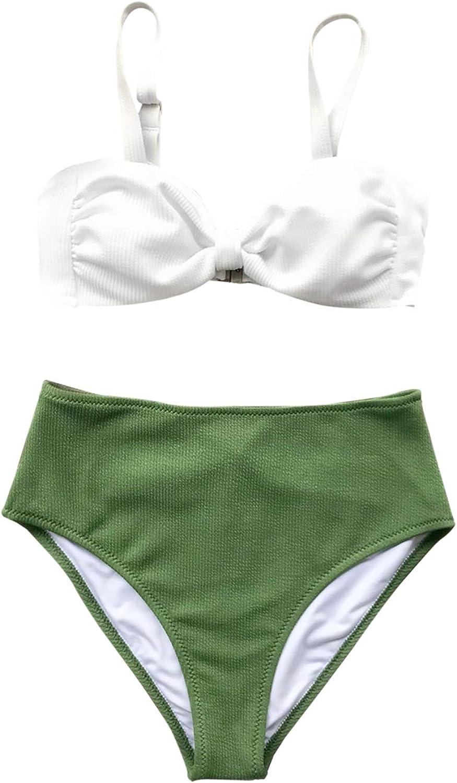 CUPSHE Women's Textured White and Green Colorblock High Waist Bikini