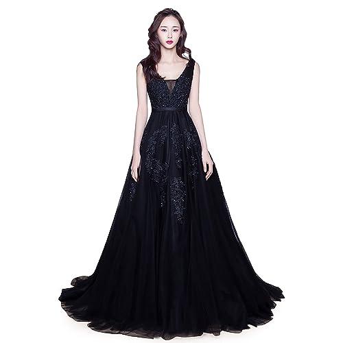9055fec8a64 Babyonline Women s Double V-Neck Tulle Appliques Long Evening Cocktail Gowns