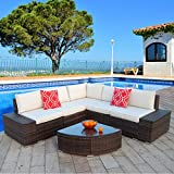Polar Aurora 6pcs Patio Furniture Set PE Brown Rattan Wicker Sectional Outdoor Sofa Set Outside Couch w/Washable Seat Cushions & Modern Glass Wedge Table for Patio, Backyard, Pool-Beige