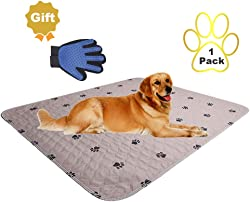 SincoPet Reusable Pee Pad + Free Puppy Grooming Gloves/Quilted, Fast Absorbing Machine Washable Dog Whelping Pad/Waterproof Puppy Training Pad/Housebreaking Absorption Pads