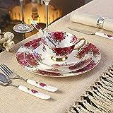 FMOGQ Juego De Vajilla De Porcelana China Pastoral De Europa con Tenedor,...