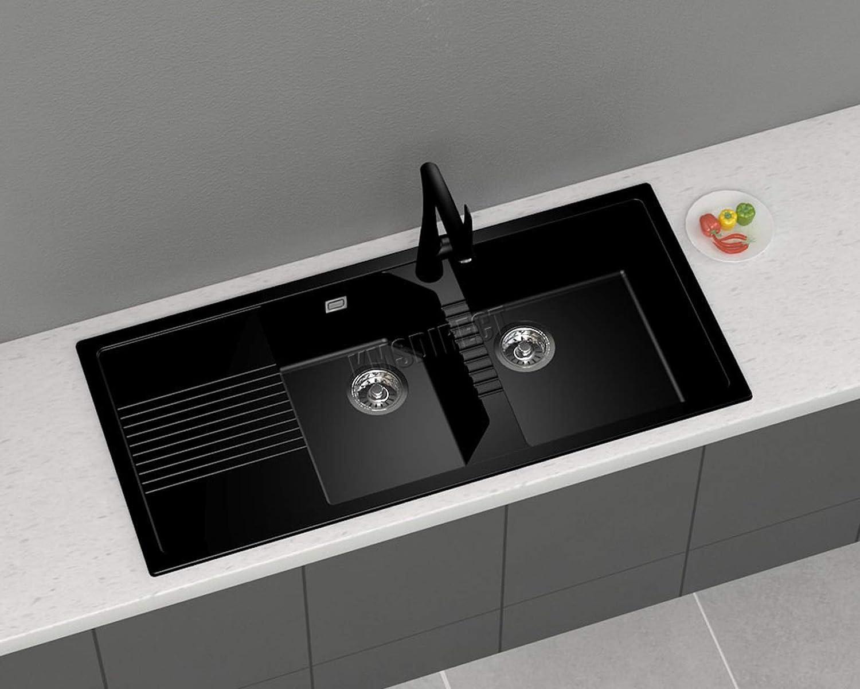 Westwood GKS01 Granit-Küchenspüle, mit Doppel-1,5 Schüssel und kompletter Abtropfgarnitur, Schwarz