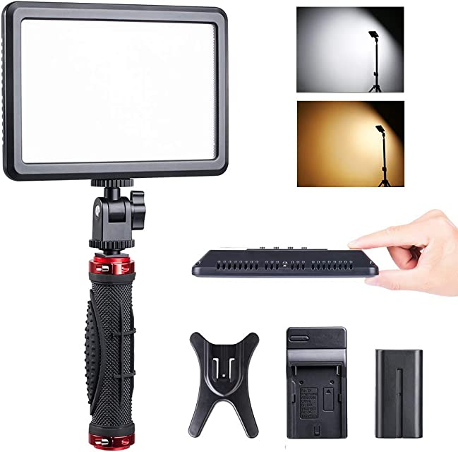 K&F Concept Luz Vídeo LED Bi-Color Profesional con Pantalla LCD 2200mAh Batería y Panel LED Regulable 2800-6000K para Cámaras Digitales SLR Cámara de Vídeo y Estudio etc