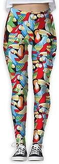 XMKWI Cartoon Parrot Women's Power Flex Running Yoga Pants Workout Tights Leggings Trouser