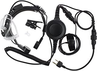 Tenq Military Grade Tactical Throat Mic Headset/earpiece with Big Finger PTT for Icom Radio 2-pin Ic-12a, Ic-12at, Ic-12e, Ic-12gat, Ic-12ge, Ic-f3002