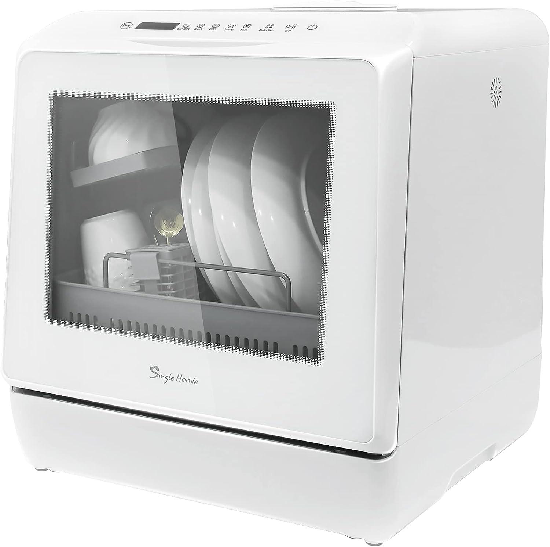 Lavavajillas de sobremesa, mini lavavajillas de encimera portátil, modos de suministro de agua dual con control táctil de tanque de agua de 5 l, pantalla LED, lavado de frutas, instalación gratuita