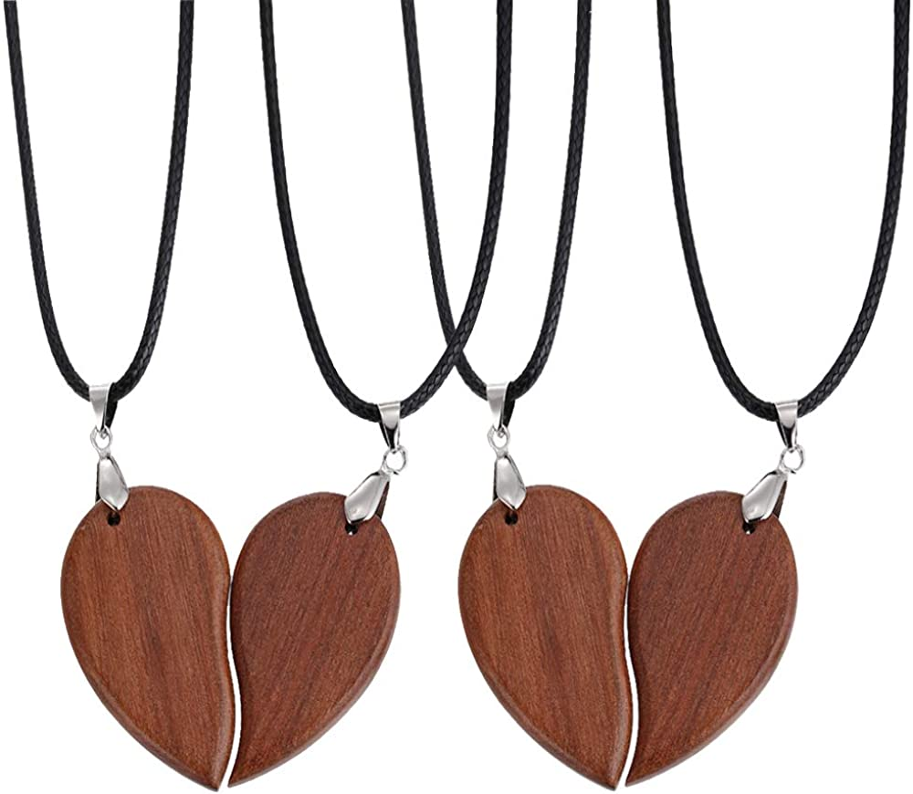 SOOWOOT Wooden Mens Womens Couple Necklace Matching Heart Pendants Friendship Relationship Promise Love Fashion Jewelry Gifts