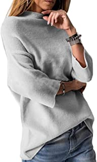 Women's Knit Sweater Tops Mock Turtleneck Pure Color Loose Fit Pullovers