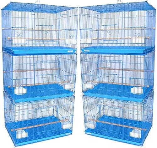 """Mcage Lot of 6 Aviary Breeding Bird Finch Parakeet Aviary Canary Lovebird Budgie Flight Cage 24""""x16""""x16""""H (Blue)"""