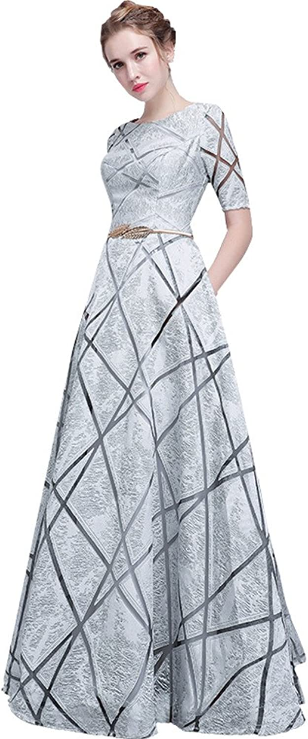 Ai Maria Women's Round Collar Short Sleeve Long Prom Dresses