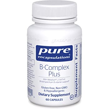 Pure Encapsulations - B-Complex Plus - Balanced B Vitamin Formula with Metafolin L-5-MTHF and Vitamin B12 - 60 Capsules