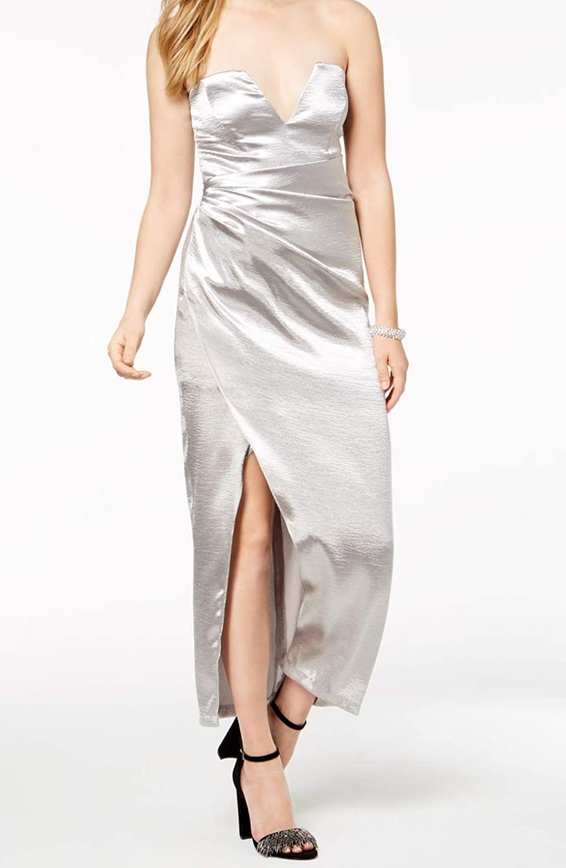 Bardot  119 Womens New 1060 Silver Metallic Strapless Maxi Dress M B+B