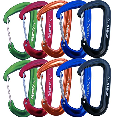 CARAPEAK 12kN Heavy Duty Small D Shape Aluminium Carabiners, Lightweight Wiregate Nonlocking Caribeaner Clip for Hammock, Keychain, Camping, Hiking & Backpack, 10 Pack
