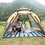HEWOLF Pop Up Tent for 3 to 4 Person Automatic Opening Hexangular Hydraulic Double Layer Tent - Ultra Large Waterproof…