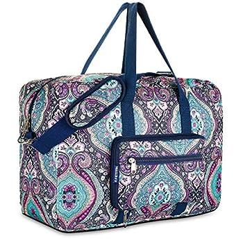 Travel Foldable Waterproof Duffel Bag - Lightweight Carry Storage Luggage Tote Duffel Bag  Green Floral