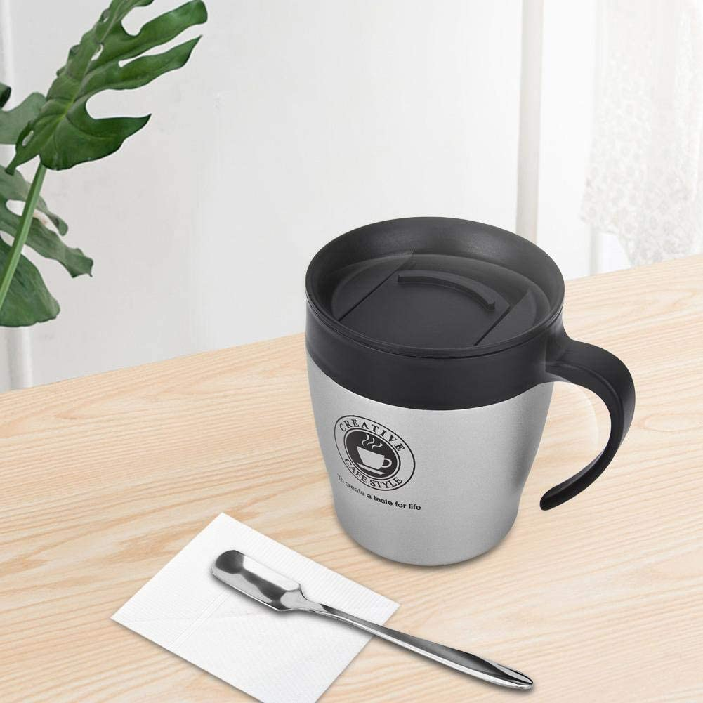 Taza de café de 330 ml con cuchara Frasco de vacío de doble pared para cola(Silver)