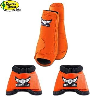 CACTUS ROPES Medium Orange Relentless Trevor Brazile Horse 2 Front Leg Sport 2 Bell Boot Set