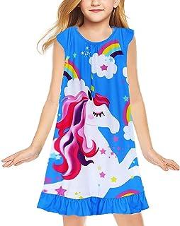 LQSZ Girls Unicorn Nightgowns Nightie Nightdress Short Sleeve Ruffled Night Dress for 2-8 Years/Kids Pink Blue