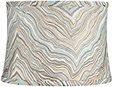 Beige Marbled Medium Drum Lamp Shade 13' Top x 14' Bottom x 10' High (Spider) Replacement with Harp and Finial - Springcrest