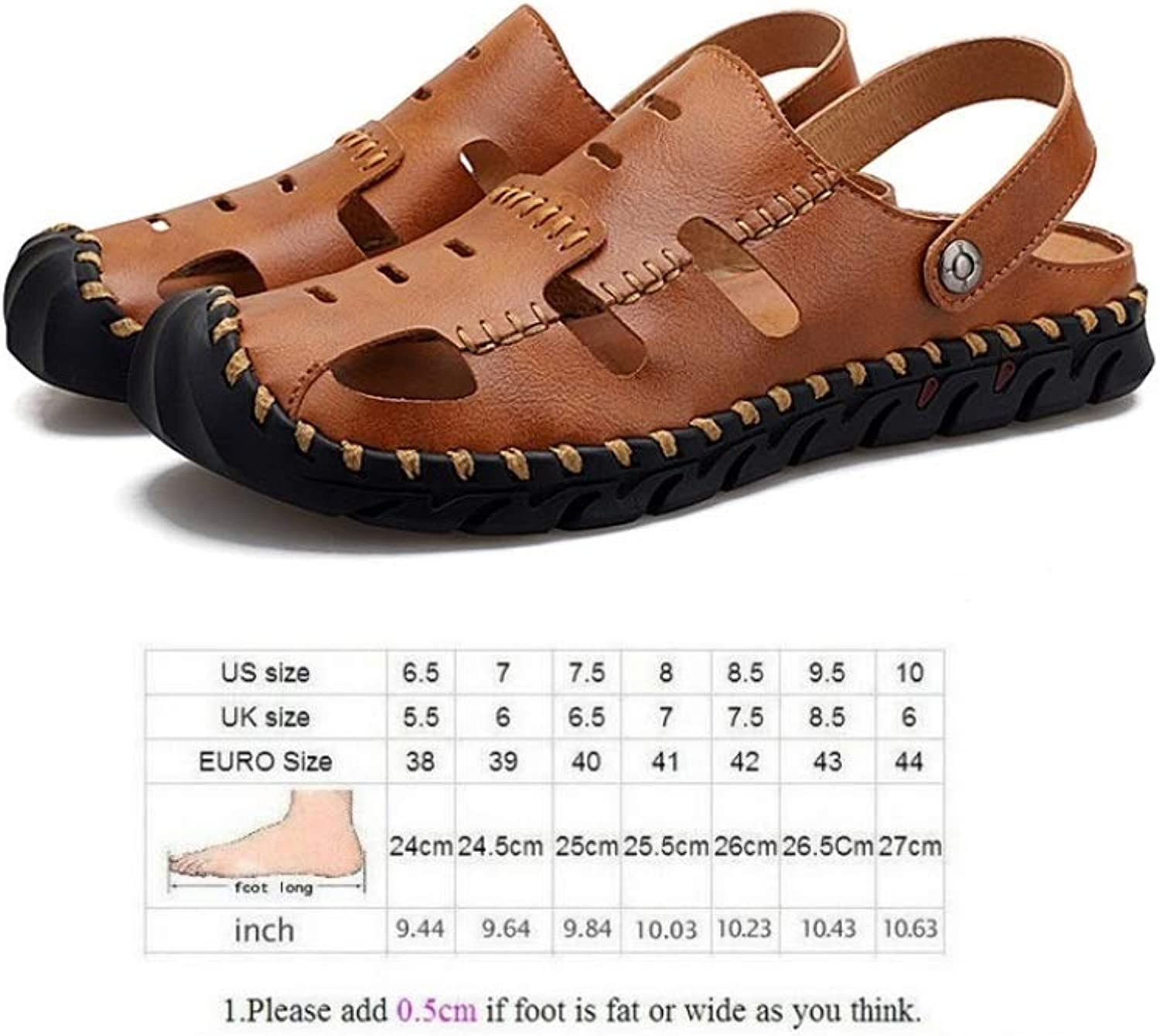 LZK Men's Sandals - Summer Leather Sandals, Casual Large Size Beach shoes, Baotou Anti-Collision Toe, Two Ways to wear B   44