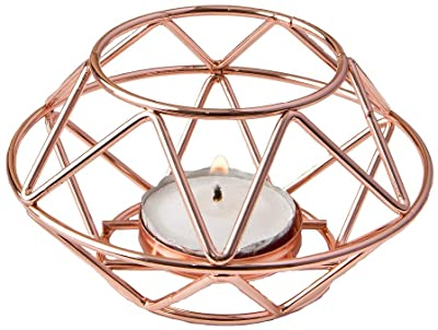 FASHIONCRAFT 8742 Geometric Design Rose Gold Metal Tealight Candle Holder, Candle Wedding Favor, Candle Centerpiece, 1-Piece