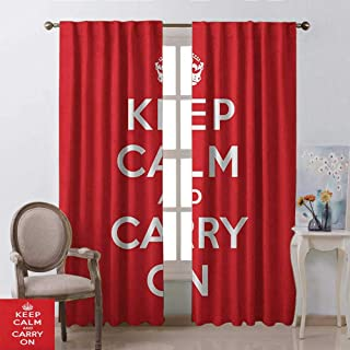 youpinnong Keep Calm, Curtains Set of 2, Red and White Composition with Keep Calm and Carry On Text and a Royal UK Crown, Curtains for Boys Room, W72 x L84 Inch, Red White