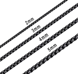 2mm 7mm Black Square Rolo Chain Stainless Steel Round Box Necklace Men Women Jewelry