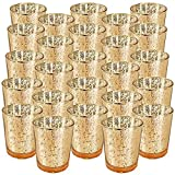 "Just Artifacts Mercury Glass Votive Candle Holder 2.75""H (25pcs, Speckled Gold) -Mercury Glass Votive Tealight Candle Holders for Weddings, Parties and Home DÃcor"